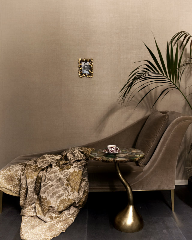Envy chaise featured in the bedroom of an Amsterdam canal house project.
