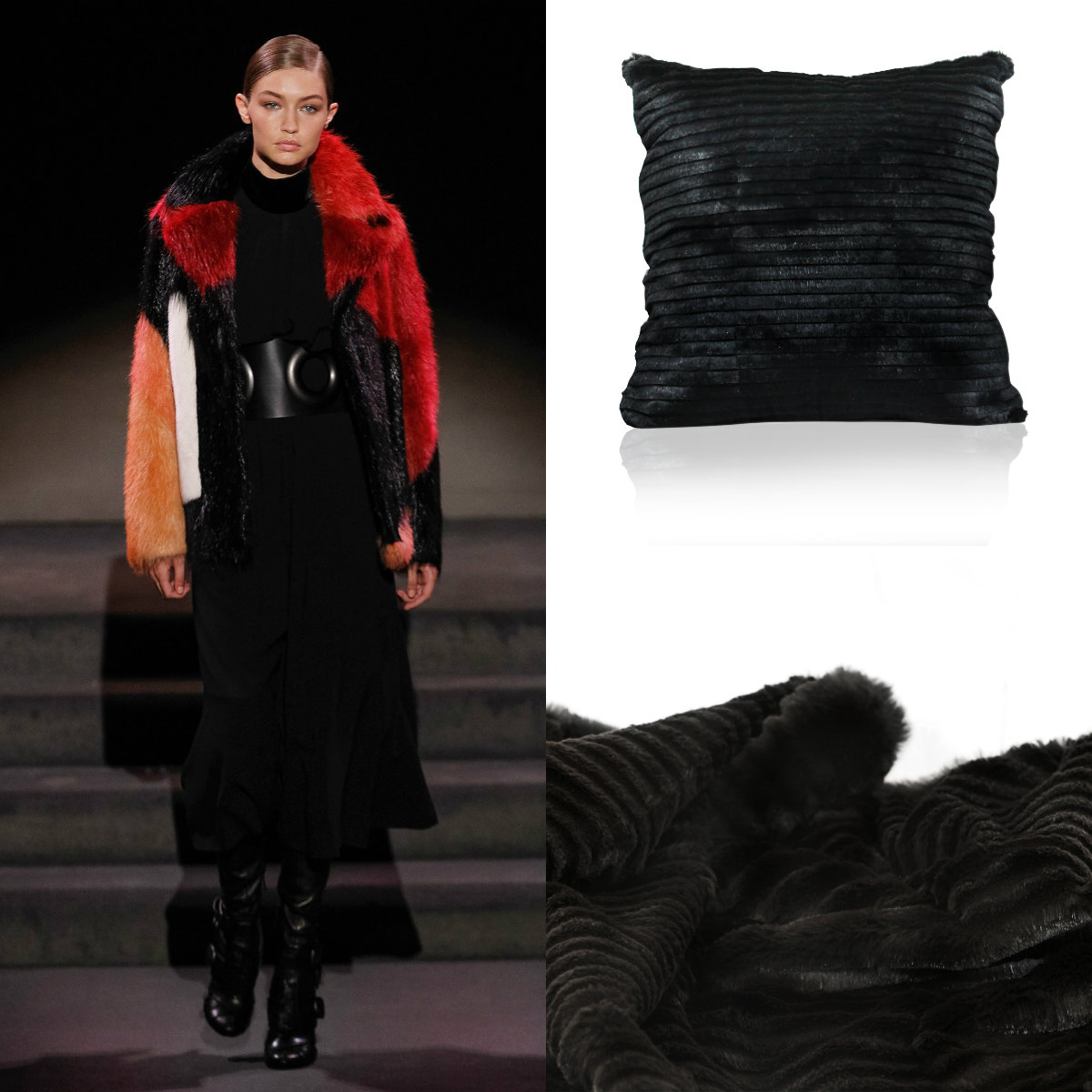 Gigi Hadid walked the Tom Ford show in a fur coat similar to the supple fur of the KOKET soft goods collection.