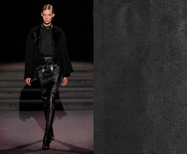 Leather was a main material seen on the runway like the supple and exotic leathers of the KOKET textiles collection.