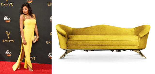 Cookie in Vera Wang and the Colette sofa.