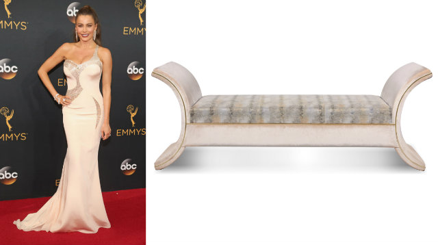 Similar to Sofia's shimmering Versace gown is the striking design of the new Luna bench.