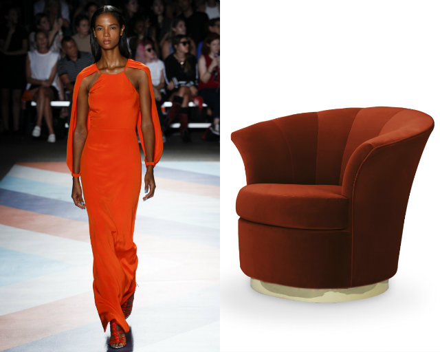 Tangerine orange popped on the runway similar to the burnt orange Besame chair.