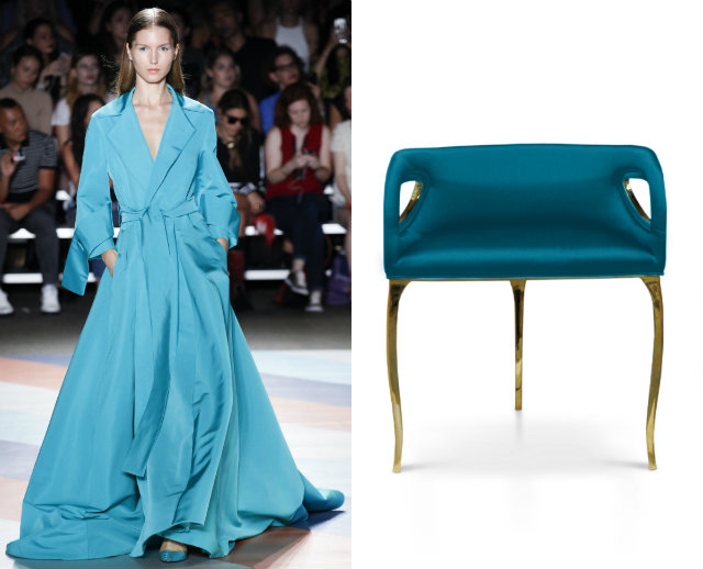The long and flowy cerulean blue dress matches the long legs and upholstery of the Chandra chair.