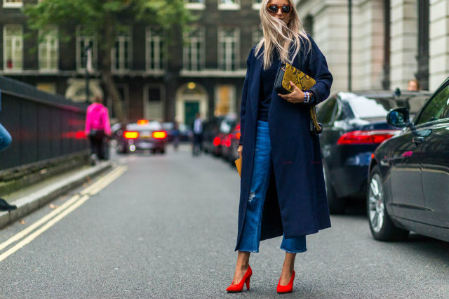 Long and draping coats also made an appearance in the cloudy city.