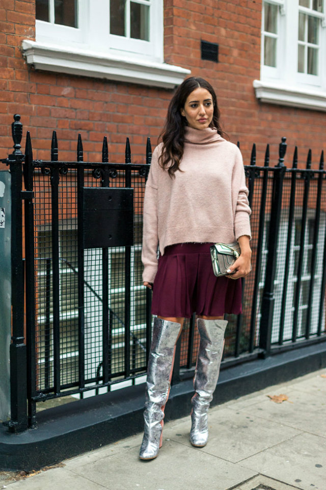 Although the causal, unisex trend is popular right now, London also showed off some feminine street style silhouettes.