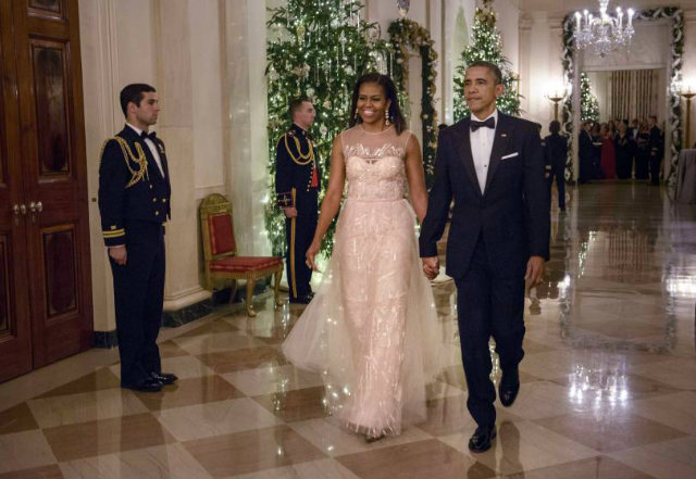 Michelle Obama wowed again at the 37th Kennedy Center Honors Gala in 2014 wearing a blush Monique Lhuillier dress.