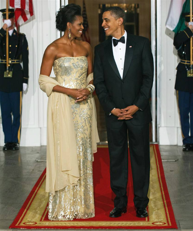 Michelle Obama in a hand-made gown by Indian-American fashion designer Naeem Khan