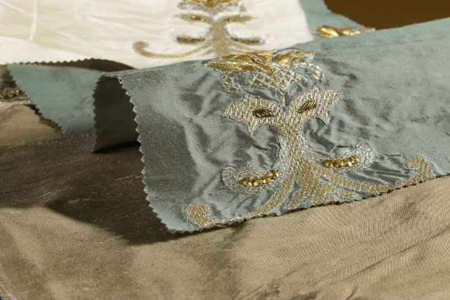 KOKET Textiles features exotic hand embroidered fabrics from India like Aston Main.