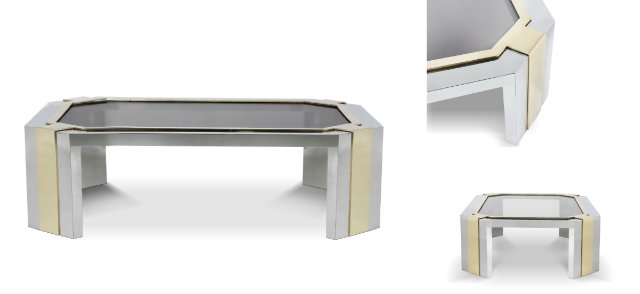 The new Minx coffee table by KOKET elegantly blends silver and gold metals in a modern design.