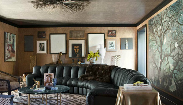 The queen of pattern play, Kelly Wearstler, experimenting mixing darker patterns and textures in this living room project.  dark interiors 10 Deliciously Dark Interiors 10 Deliciously Dark Interiors kelly