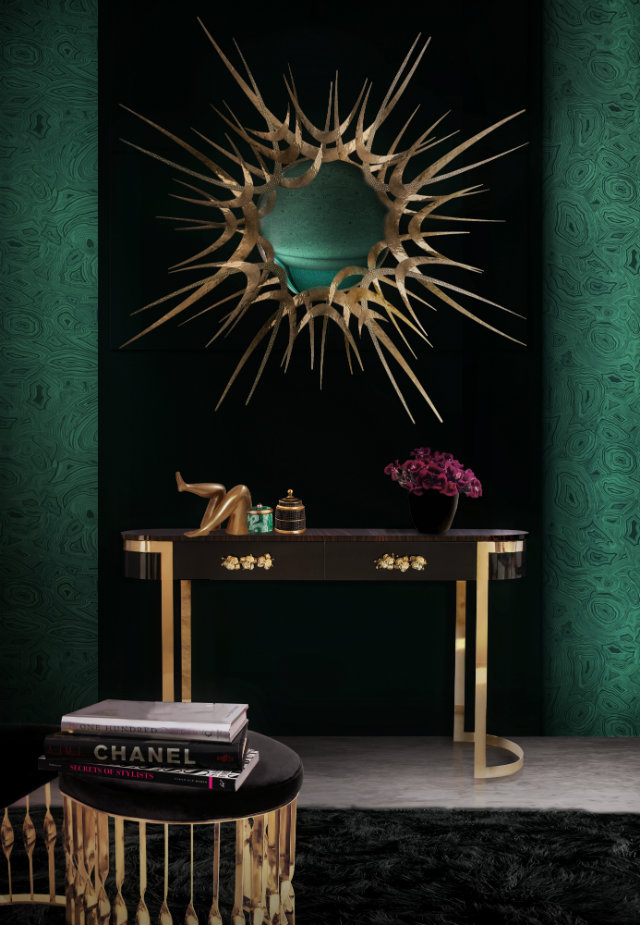 Another dark entryway features sultry black and gold pieces from the Guilty Pleasures collection by KOKET. The Orchidea makes for a glamorous console table, and the Guilt is stunning as an entryway mirror.