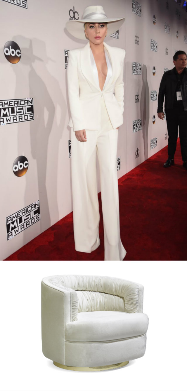 Lady Gaga looked chic and dapper as she donned a crisp white Brandon Maxwell suit and matching hat on the carpet. Dressed for a drink, Gaga's attire is reminiscent of sipping a martini in the Cocktail chair.