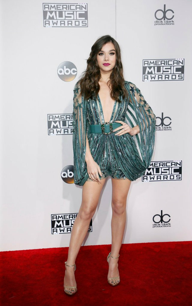 Hailee Steinfeld sparkled in a green Elie Saab romper with sequin embroidered star details.