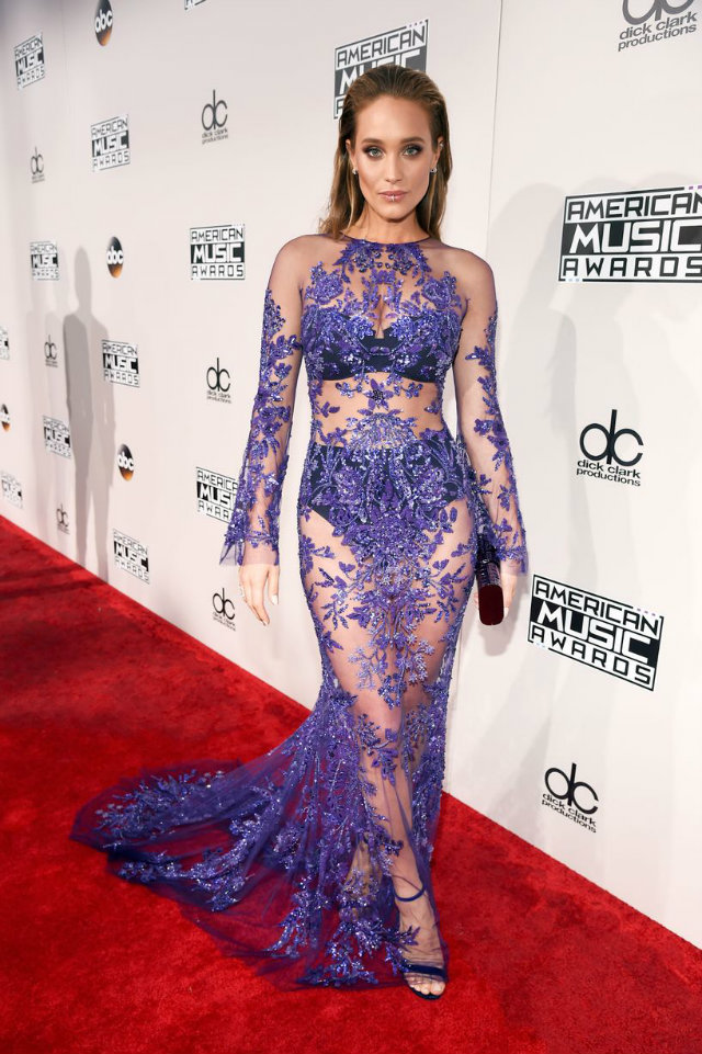 Hannah Davis turned some heads in a shimmering embellished see-through gown topped with an edgy lip ring.