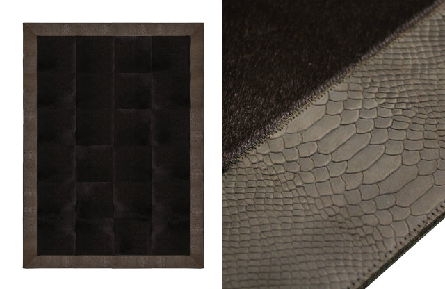 Square panels of genuine dyed cowhide are framed by a stingray embossed bovine leather border. This extraordinary supple leather is embossed to mimic the patterns and wild beauty of natural stingray leather.