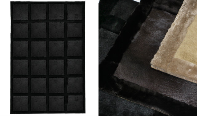 Square panels of genuine dyed cowhide are framed by a soft Merino lamb wool border. The Merino lamb is known to have the finest and most plush wool of any sheep ensuring supreme comfort and durability.