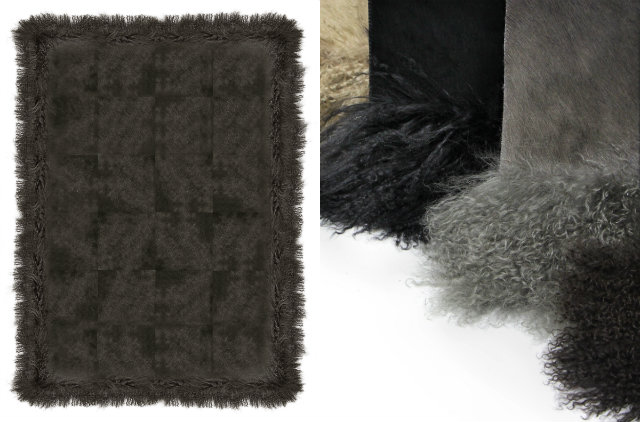 Square panels of genuine dyed cowhide are framed by a feathery Mongolian Goat fur border. Mongolian goat cashmere wool is soft and silky to the touch, adding a natural, plush fringe border around the durable and long lasting cowhide.
