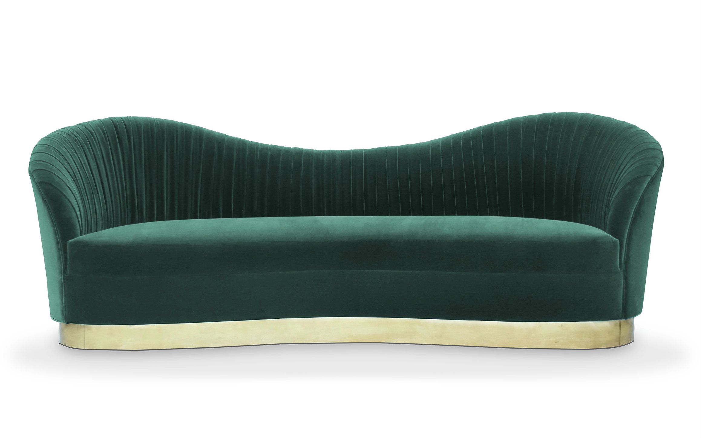 The Kelly sofa's fluid curves are harmoniously matched by sumptuous pleated waves of rich lush meadow upholstery.