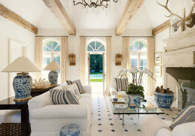 The interior of Ralph Lauren's pool house features lamps from 18th-century Chinese vessels. fashion designers Peek Inside 15 Fashion Designers Decadent Home Interiors Peek Inside 15 Fashion Designers Decadent Home Interiors ralph