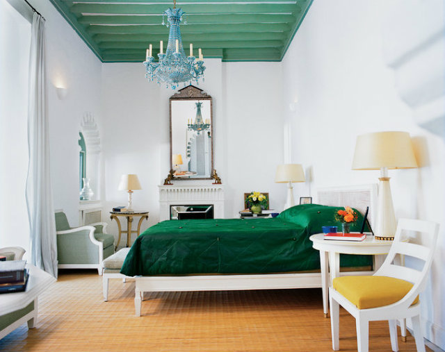 The fashion designer's bedroom he shared with partner Pierre Bergé in Villa Mabrouka  fashion designers Peek Inside 15 Fashion Designers Decadent Home Interiors Peek Inside 15 Fashion Designers Decadent Home Interiors yves