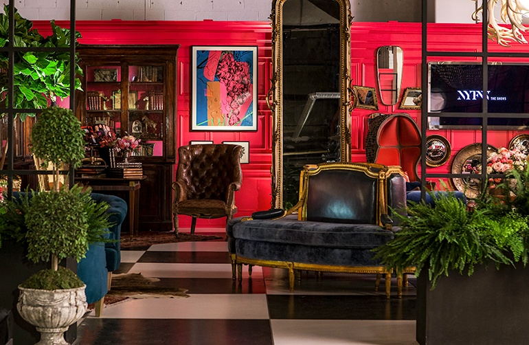 The Opulent NYFW Lounge by Ken Fulk Luxury upholstery Ken Fulk NYFW Opulent Lounges by Ken Fulk The Opulent NYFW Lounge by Ken Fulk Luxury upholstery