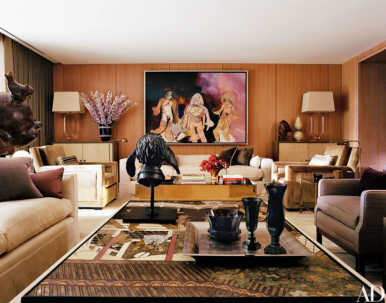 The Sophisticated Interior Designers by AD100 List – I Part Paul Fortune Interior Designer Bold Opulent Living Room