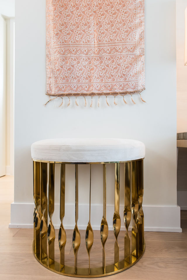 Mandy Stool by KOKET in luxury apartment in NYC by Perianth Interior Design Project luxury apartment Metallic Accents in a Neutral Setting Make a Stunning Luxury Apartment 2373 broadway livingroom perianth 161018 0001