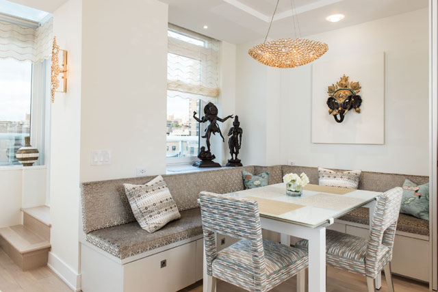 Eternity Chandelier in Luxury Apartment in NYC by Perianth Design luxury apartment Metallic Accents in a Neutral Setting Make a Stunning Luxury Apartment 2b