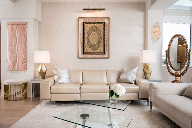 Mandy Stool in Luxury Apartment in NYC by Perianth Interior Design luxury apartment Metallic Accents in a Neutral Setting Make a Stunning Luxury Apartment 3