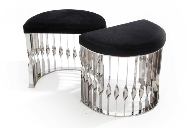 Loren Ridinger's demi-lune silver Mandy stool by KOKET  Empowering Women: Loren Ridinger 89734 3168209