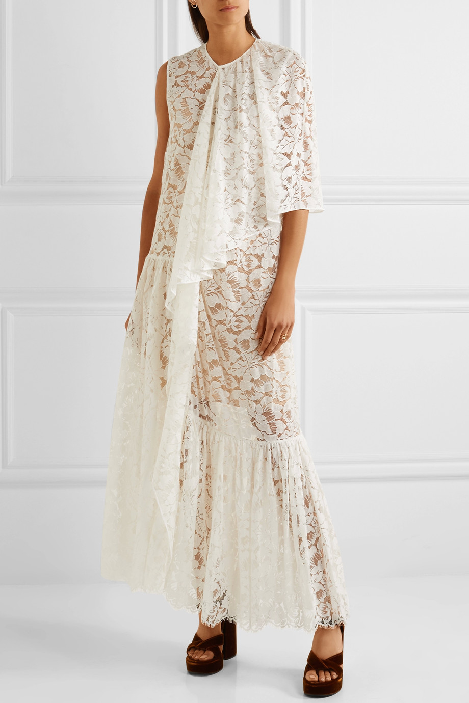 STELLA MCCARTNEY Elen one-shoulder draped cotton-blend lace gown, 4th of July 2017 outfit picks by KOKET 4th of july outfit Chic 4th of July Outfit Ideas by KOKET 899669 fr xl