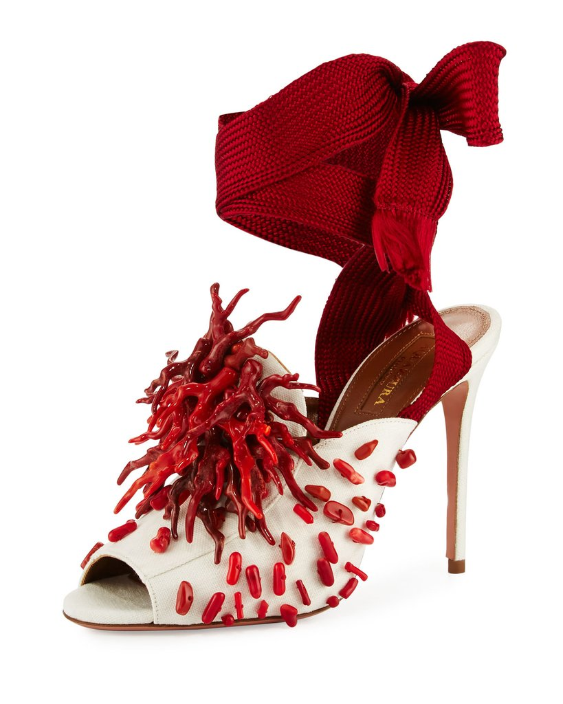 Aquazzura Madagascar Embellished Ankle Wrap Pumps - Aquazzura Madagascar Embellished Ankle-Wrap Sandal, Red/White 4th of july outfit Chic 4th of July Outfit Ideas by KOKET Aquazzura Madagascar Embellished Ankle Wrap Pumps 1295