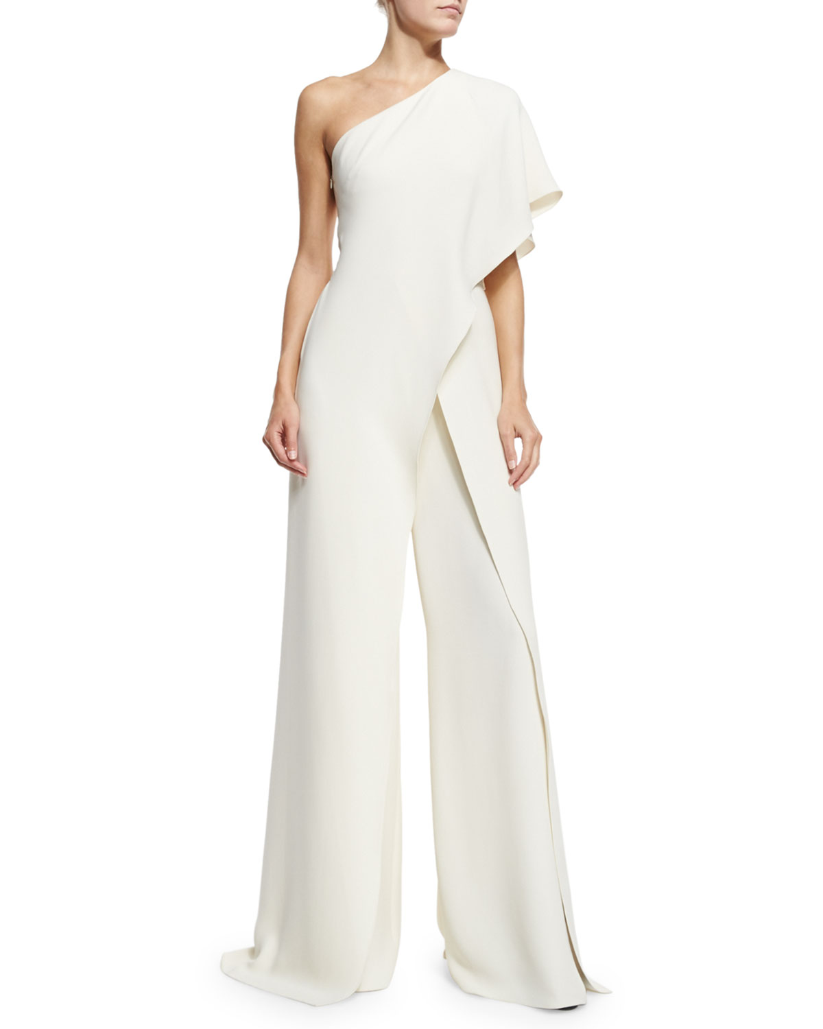 Ralph Lauren Collection One-Shoulder Silk Crepe Jumpsuit, Ivory, 4th of July 2017 outfit ideas by KOKET 4th of july outfit Chic 4th of July Outfit Ideas by KOKET BGW0FWB mz