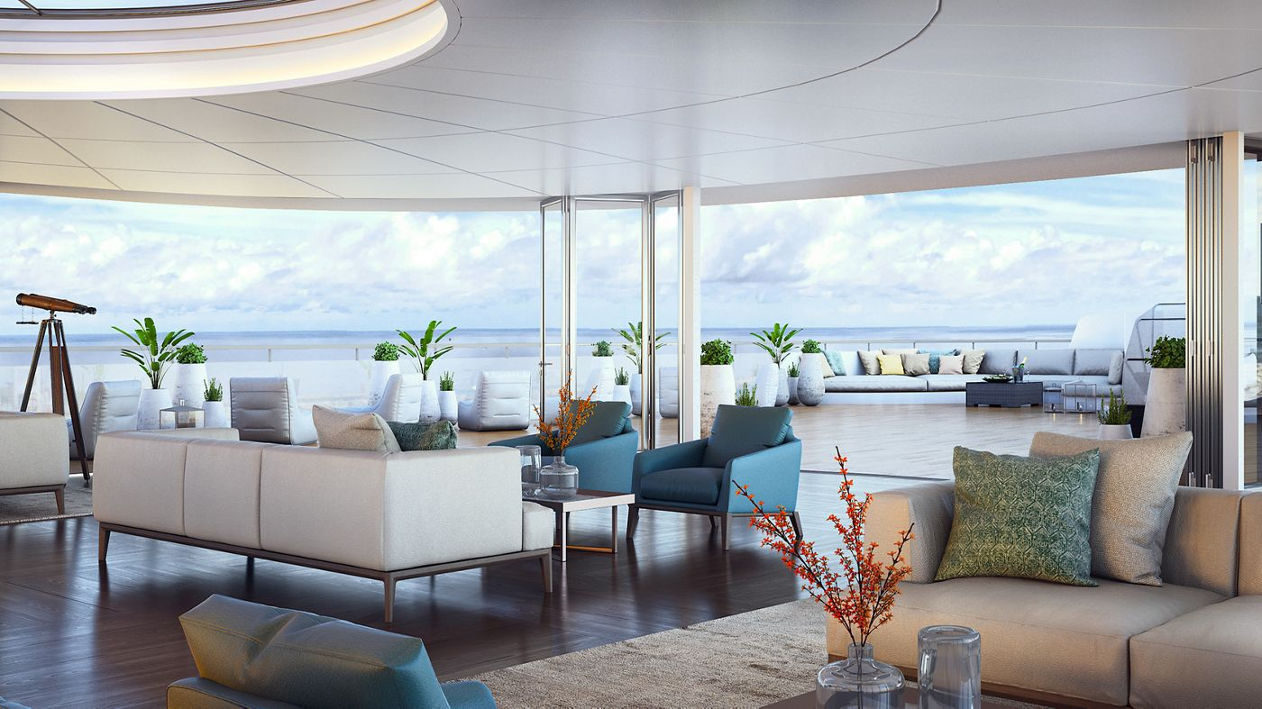 Luxury Cruise Line by Ritz-Carlton, The Ritz-Carlton Yacht Collection Luxury Cruise Stunning Interiors Await on Ritz-Carlton's New Luxury Cruises Observation Lounge1