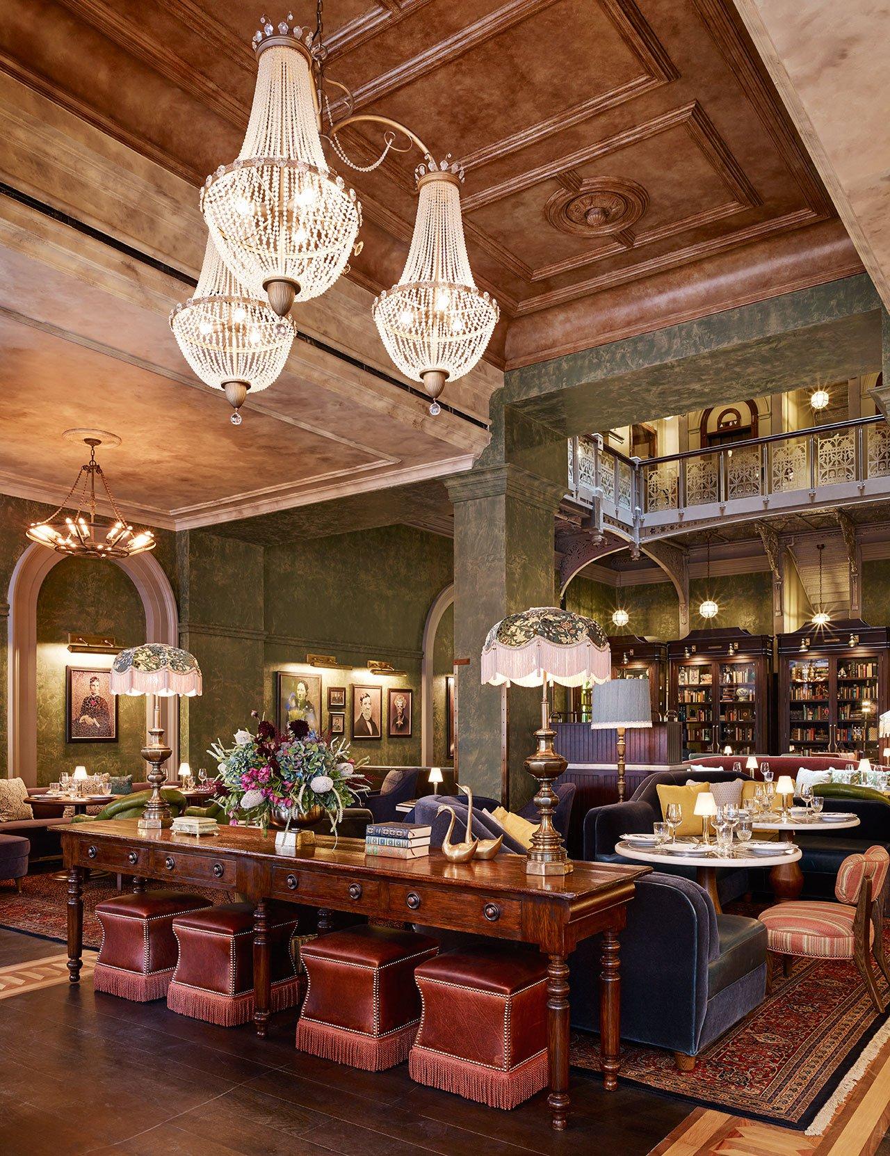 The_beekman_a_thompson_hotel_new_york_yatzer_martin Brudnizki, Mandy Stool  By Koket, Luxury Furniture Manhattan Hotel Historic NYC Building Revival