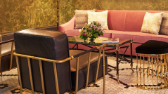 Manhattan Hotels: The Beekman Hotel_Yatzer, New York City, Luxury Furniture, Mandy demi-lune stool by KOKET, brass stool