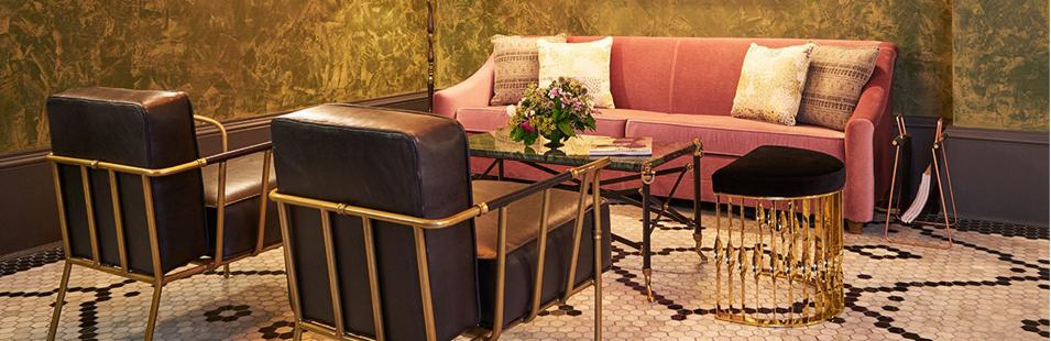 Manhattan Hotels: The Beekman Hotel_Yatzer, New York City, Luxury Furniture, Mandy demi-lune stool by KOKET, brass stool