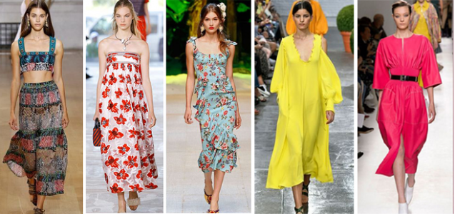 Summer 2017 Fashion Trends: Bright Saturated Colors, Florals, Bra Tops, Sheers, Whites