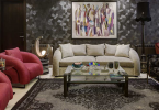 Home design: Fadia O Chaker, KOKET, Lotus Lamp, Prive Bench, Tall Floor lamp, Decorative upholstered bench, metal frame bench, interior design in Beirut Lebanon, upholstered dining chairs