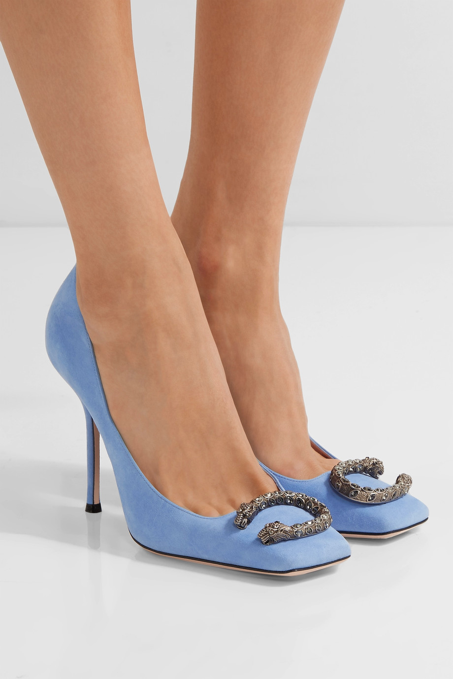 a090f28c47b1 Gucci Blue Suede Shoes - Gucci Dionysus Embellished Suede Pumps - Light blue