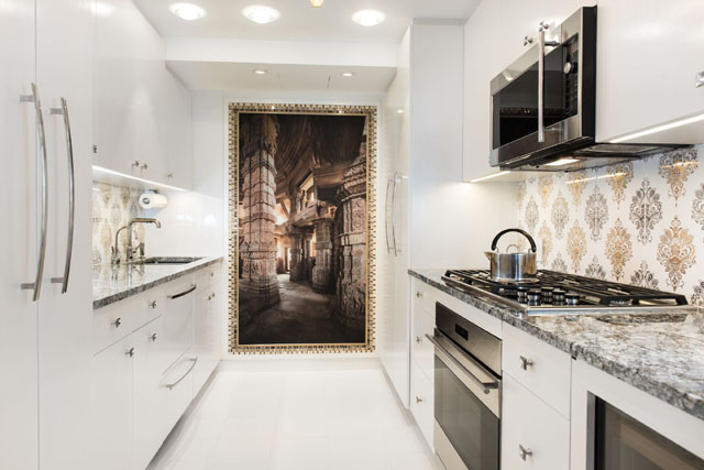 Kitchen in NYC by Perianth Interior Design luxury apartment Metallic Accents in a Neutral Setting Make a Stunning Luxury Apartment neutral colors kitchen 1490219151