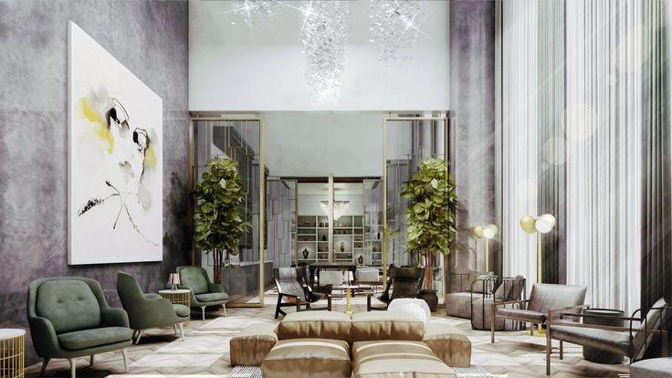 Aurélien Luxury Apartments Lobby - Interior design by Karen Herold, Studio K, public space interior design