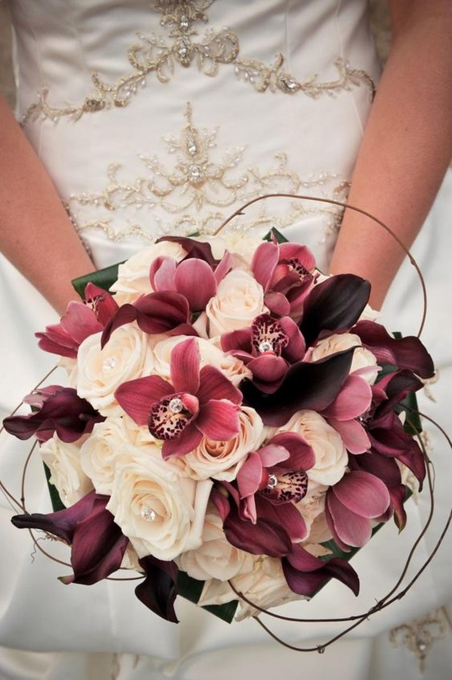 wedding bouquets, bridal, romantic bouquets, burgundy orchids orchid bouquet 10 Amazing Orchid Bouquets 14 8