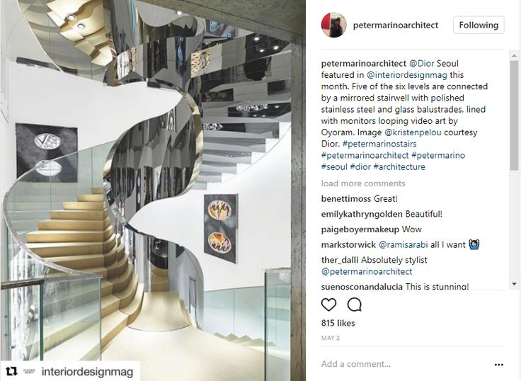 Interior Design Instagram: Staircase by Peter Marion Architect at Dior Seoul, stainless steel and glass balustrades, mirrored stairwell, interior design magazine, image by kristen pelou interior design instagram 10 Popular Interior Design Instagram Inspirations 343b56b0c170ec688ee1df566d286f06