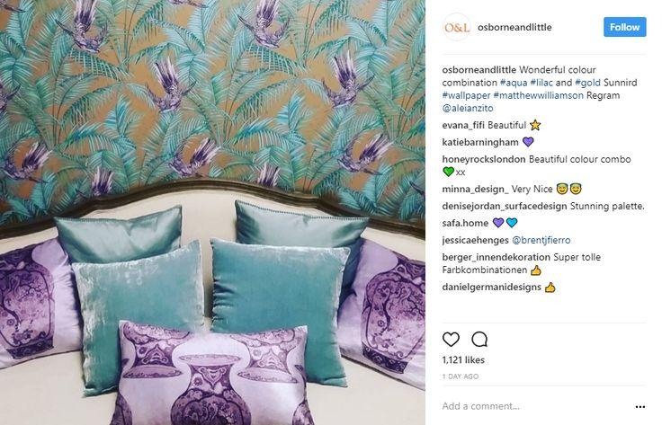 Inspiring color palette by Osborne & Little on Instagram, bedroom fabrics, purple and teal, teal velvet, bedroom design, lilac, aqua and gold, sunnird wallpaper interior design instagram 10 Popular Interior Design Instagram Inspirations 4fa99e18151d54cf3fd728e96b97fea0