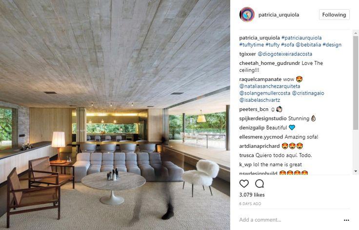 Living Room by Patricia Urquiola, tufted sofa, furry chair,top spanish interior designer interior design instagram 10 Popular Interior Design Instagram Inspirations 5ed43f8f629042cabe480c4d4524197f