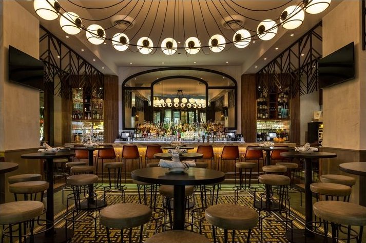 Cochon Volant Brasserie Chicago - Interior design by Karen Herold, best restaurant designers chicago - French bistro serving classic fare in spacious brasserie surrounds with a bar in a hotel.