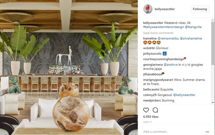Instagram Post by Kelly Wearstler, Four Seasons Anguilla, weekend vibes, hospitality design, hotel design, exotic design, public space, lobby bar design interior design instagram 10 Popular Interior Design Instagram Inspirations 9b70659370b167a5de963d86d739095e