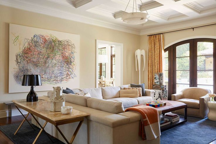Artful Brentwood — Natasha Baradaran Top Interior Designer in Los Angeles, neutral living room with colorful art