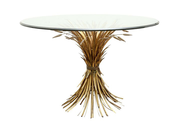 Authentic Signed Gold Gilt Wheat Sheaf Table by Chanel, gold metal dining table, antique dining table luxury furniture Can Luxury Furniture Be as Good of An Investment as Traditional Art? Authentic Signed Gold Gilt Wheat Sheaf Table by Chanel